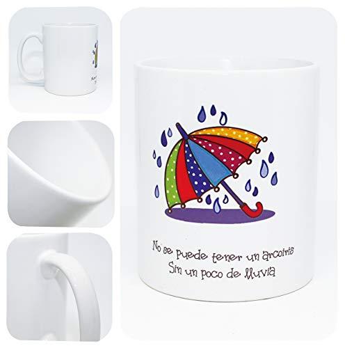Zonge Taza de Desayuno con Frase - (No se Puede Tener un arcoíris sin un Poco de Lluvia)