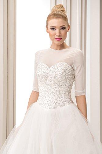 Fine Giacca Coprispalle Nuziale stile Bolerino da Sposa in Tulle Bianco