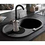 Festnight Granitspüle Einzelbecken | Oval Küchenspüle | Einbauspüle Spülbecken Spüle | Schwarz Granit 1-Becken