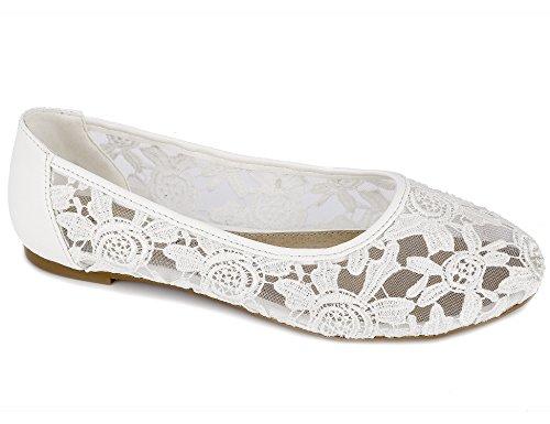 Greatonu Damen Geschlossene Ballerninas Brautschuhe Flach Spitze Flache Sandalen Weiß Größe 36EU