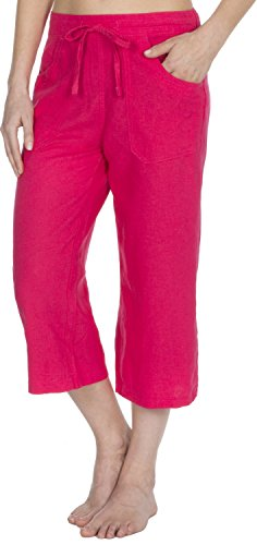 Causeway Bay Ladies Linen Blend Cropped 3/4 Length Trousers