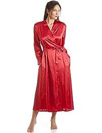 Camille - Robe de chambre de luxe en satin - femme- rouge