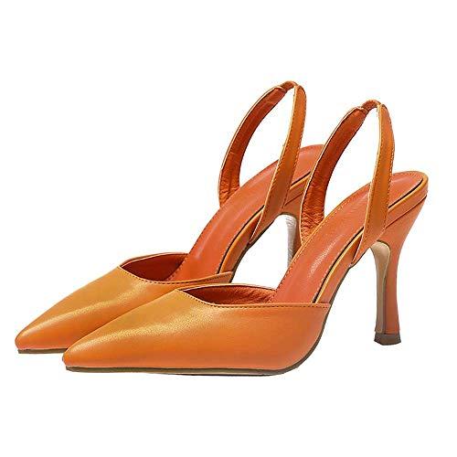 Fenghz-Shoes Schuhe Mode Mode einfachen Spitzen einfarbigen Sandalen Europa und den Vereinigten Staaten PU Sommer Leder flachen Mund High Heel Stiletto (Farbe : Orange, Size : US7.5) Orange Stiletto
