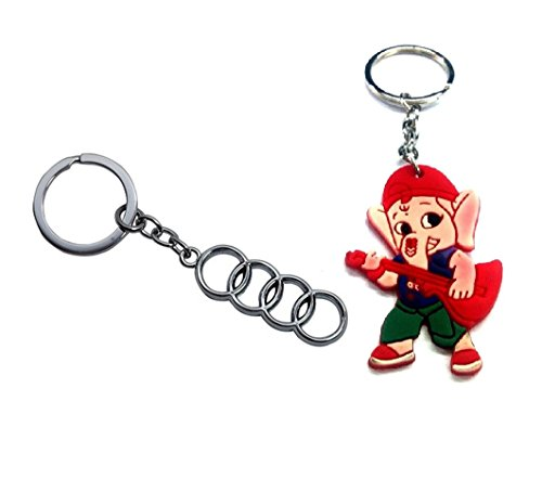 Parrk Stylic Full Metal Audi Metallic Ring With Bal Ganesh Key Chain  available at amazon for Rs.189
