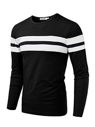 Long Sleeve Knit Tee (KAIUSI Herren Rundkragen Streifen Langarmshirt Schwarz-Weiss X-Large)