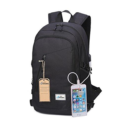 Fresion Laptop-Rucksäcke Damen Herren für 15,6 zoll Notebook Tasche mit USB Ladeport Stylishe Leichtgewichtiger Business Rucksack Cityrucksack für Büro Schule Reise 26L×13B×48H cm (Schwarz)