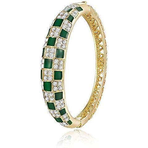 City Ouna® moda joyería oro rosa cristal austriaco verde brazalete pulsera Swarovski Esmeralda elementos tenis joyería