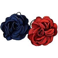 VALUEU Moda Artificial Camellias Rose Cuerda de pelo Lazos Banda elástica Joyería del pelo Accesorios para el cabello