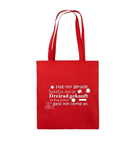Comedy Bags - Hab mir gerade Bauklötze und ein Dreirad gekauft - Neuanfang - Jutebeutel - lange Henkel - 38x42cm - Farbe: Schwarz / Silber Rot / Weiss