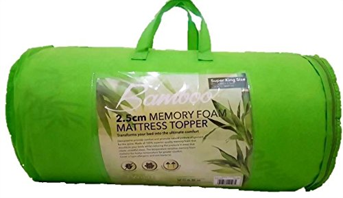 Memory Foam Mattress Topper Bamboo Orthopedic 1 INCH Thick Zipped Cover All Size