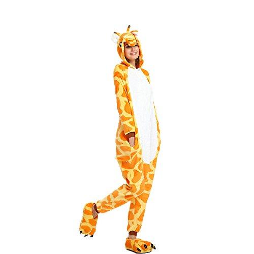 OAMORE Unisex Unicornio Pijamas Cartoon Animal Cosplay Disfraces Pijamas Adultos Ropa De Noche (Giraffe, M)