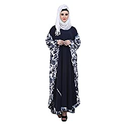 Navy Blue Crepe with Printed Fabric Kaftaan Style Abaya (XX-Large)