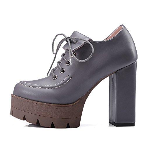 VogueZone009 Damen Schnüren Hoher Absatz Pu Leder Rein Rund Zehe Pumps Schuhe Grau