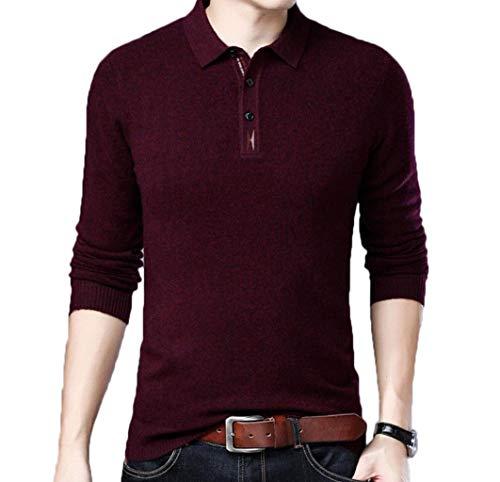 Preisvergleich Produktbild Mittellanges Herren-Revers einfarbig Pullover Jugend grundiert Hemd Herbst und Winter Herren Langarm-T-Shirt Pullover (Farbe : Red,  größe : XL)