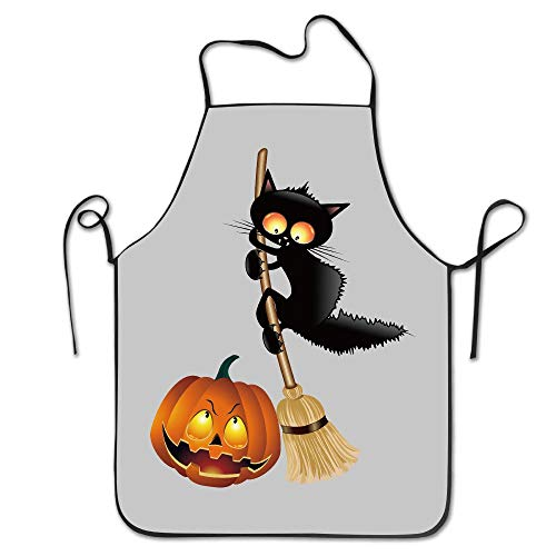 fdghjdyjdty Unisex Scarcy Black Cat Halloween Pumpkin Kitchen Apron Cooking Cafe Apron