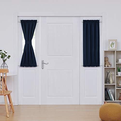 deconovo Verdunkelungsvorhang für französische Türen, Polyester-Mischgewebe, marineblau, 25Wx40L Inch| 2 Panels (Baby Sommer-monitor Touch)