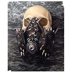 Black Sugar Masque gaz Punk déguisement Gothique Cyber Steampunk avec Pics Colorés pour Adulte & Adolescent Unisexe Bonne Fixation Confortable Bonne Qualité (noir)