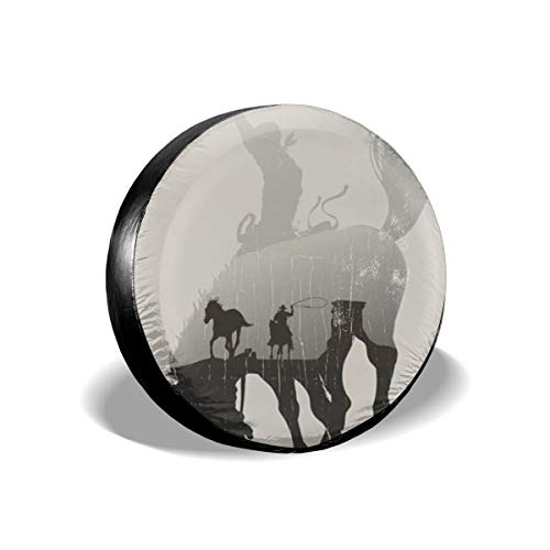 Theme A Cowboy Chasing Wild Horse In Desert1 Tire Cover Car Accession Travel Decor Cowboy Wild Rags