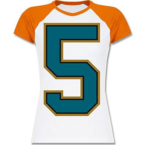 Shirtracer American Football - Football Jacksonville 5 - XXL - Weiß/Orange - L195 - Zweifarbiges Baseballshirt/Raglan T-Shirt für Damen (Jaguars-football-t-shirt Damen Weißen)