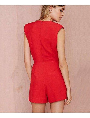 GSP-Combinaisons Aux femmes Sans Manches Sexy Polyester Moyen Non Elastique red-xl