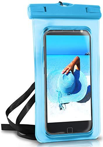 ONEFLOW Wasserdichte 360° Handy-Hülle für Motorola und Lenovo [Full-Body Cover] Touch-Funktion und Kamera-Fenster + Armband und Schlaufe zum Umhängen, Blau