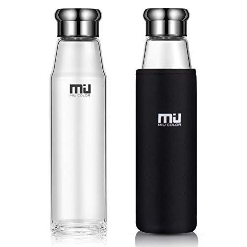 MIU COLOR® Stilvolle Tragbare 700ml Glasflasche Größere Kapazität Trinkflasche mit Nylon-Tasche für Auto, ohne Teesieb (Schwarz)