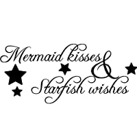 Vinyl Decals Mermaid Kisses Wall Sticker Starfish Wishes Wall Poster Home Decoration Bathroom Design Mermain Quote Decal 131x57cm