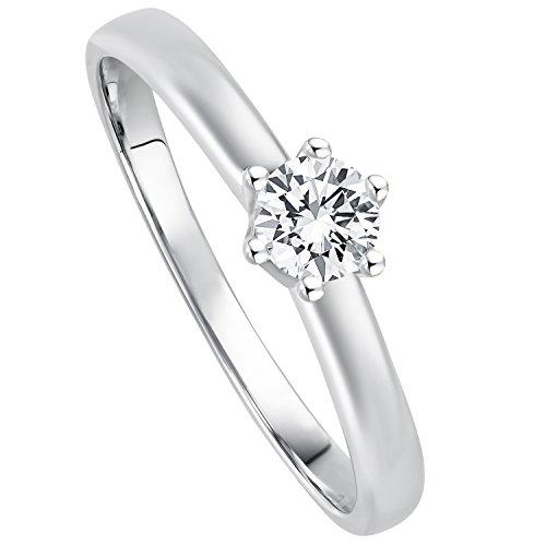 Juwelier Gelber Diamant Ring Filigrane Fassung 0.25ct Brillant Schliff Lupenrein 585 14 Kt Weissgold...