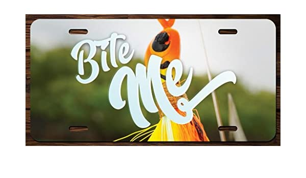 KCD Bite Me Fishing Vanity Front License Plate Tag Printed Full Color KCFP060