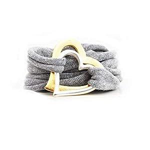 Armband Wickelarmband Stoff grau oder Wunschfarbe 60 Varianten Herz in silber und gold individuelle Geschenke mit Liebe