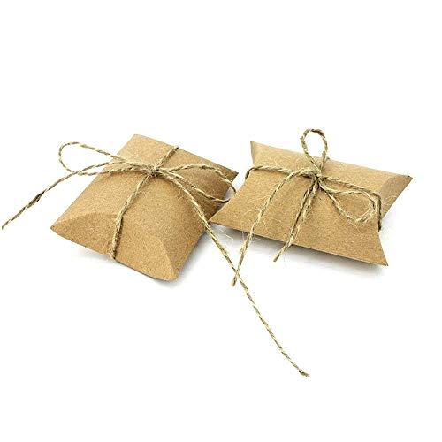 JZK 50 rustikale Gastgeschenk Box mit Jute String, Kraftpapier klein Süßigkeiten Schachteln für Hochzeit Geburtstag Baby Dusche Weihnachten Taufe Kinder Party Babyparty Festival