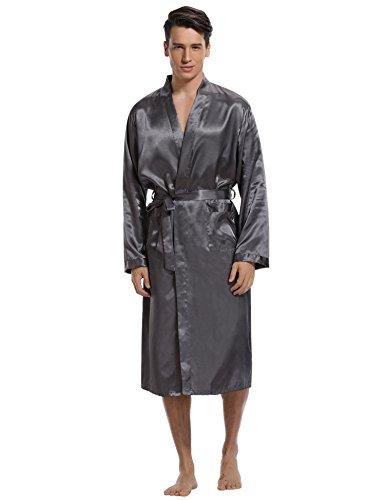 Aibrou Herren Morgenmantel Bademantel Lang Satin Nachtwäsche Kimono Sleepwear V Ausschnitt mit Gürtel Grau XXL