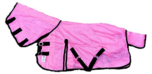 """Cwell Equine NEW MINI/SHETLAND/PONY FLY RUG SOFT MESH ATTACHED NECK COVER PINK 3'6-4'9"""" (3'0"""") 1"""