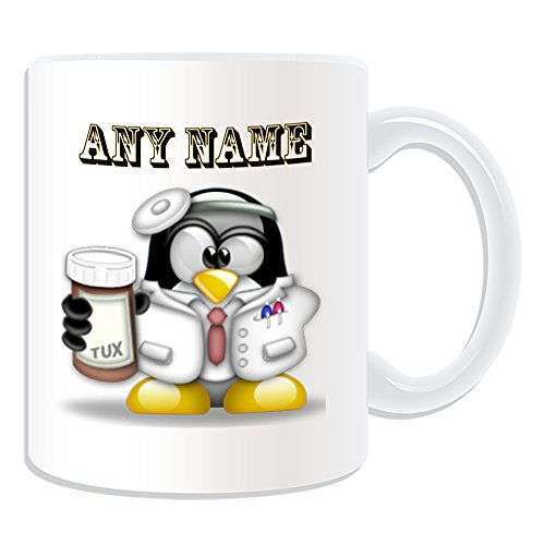 Personalisiertes Geschenk–Zahnarzt Tasse (Pinguin in Kostüm Design Thema, weiß)–alle Nachricht/Name auf Ihre einzigartige–Doctor
