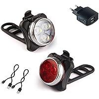 AMANKA Phare Lampe LED de Vélo Lumière Vélo Rechargeable Avant et Arrière 4 Modes de Luminosité Inclut USB Câble Antichoc Impermeable pour VTT VTC Cycliste Poussette Camping