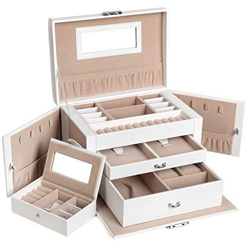 SONGMICS Jewelry Box Mädchen Jewelry Organizer verspiegelt Mini Travel Fall abschließbar weiß ujbc121W