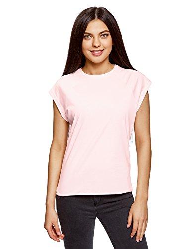 oodji Ultra Damen Lässiges T-Shirt Basic mit Unbearbeitetem Saum, Rosa, DE 38 / EU 40 / M