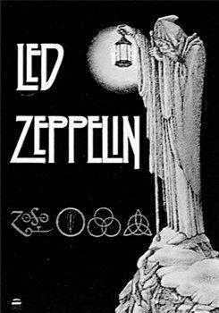 Led Zeppelin Flagge Stairway schwarz & weiß 104x75cm. Offiziell lizenziert