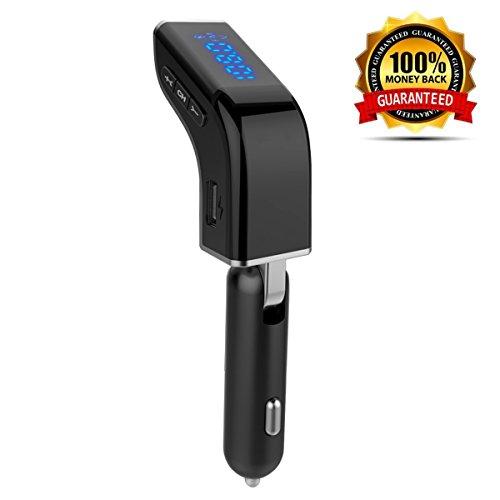 LUTU Mini transmisor FM Bluetooth para coche, adaptador inalámbrico de radio de coche Kit con pantalla de voltaje de batería, soporte de llamada manos libres y 2 cargador USB 3,1 A, ranura para tarjeta TF controlador USB