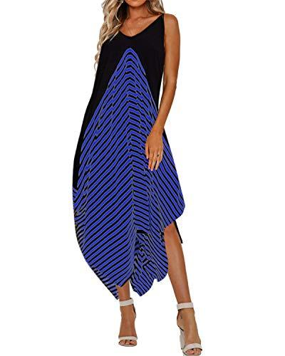 Style Dome Sommerkleid Damen V Ausschnitt Ärmellos Maxi Asymmetrisch Strand Gestreift Kleid mit Taschen Blau-998448 XL (Gestreifte Maxi Kleider)
