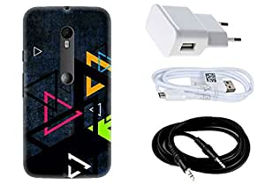 Spygen MOTOROLA Moto G Turbo Edition Case Combo of Premium Quality Designer Printed 3D Lightweight Slim Matte Finish Hard Case Back Cover + Charger Adapter + High Speed Data Cable + Premium Quality Aux