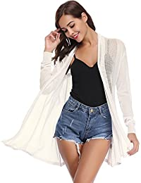 Abollria Waterfall Cardigan for Women Summer Lightweight Long Sleeve Open  Front Cardigans deae9b47a