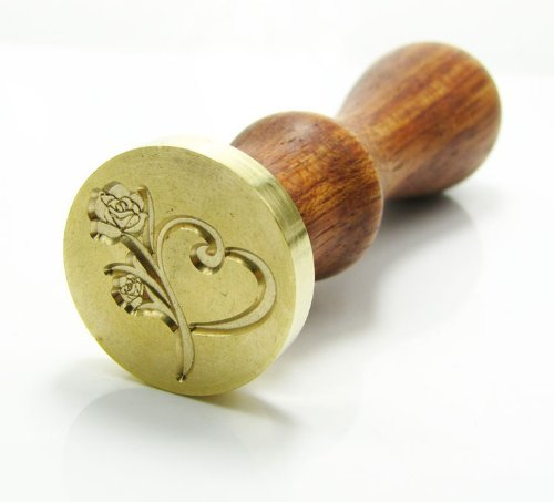 SSUGER9- Timbro vintage in metallo per ceralacca con cuore e rosa