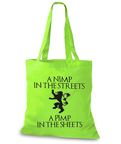 StyloBags Jutebeutel / Tasche A Nimp in the streets a Pimp in the Sheets Lime