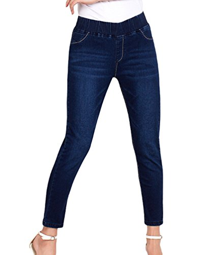 YuanDian Damen Herbst Winter 7/8 Länge Lässige Große Größen Bleistift Knöchel Slim Fit Jeans Mode Jeggings Skinny Stretch Denim HosenDunkel Blau 36 (Jeans Damen Knöchel-länge,)