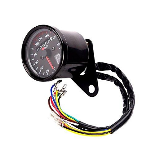 MagiDeal Motorrad Geschwindigkeitsmesser Tachometer Entfernung Messgerät mit LED Beleuchtung - Schwarz