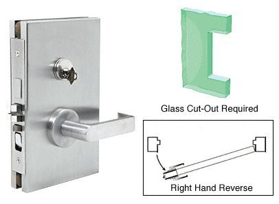 Deadlatch Lock (CRL 6x10 RHR Satin Chrome Finish Center Lock with Deadlatch in Entrance Lock Function by C.R. Laurence)