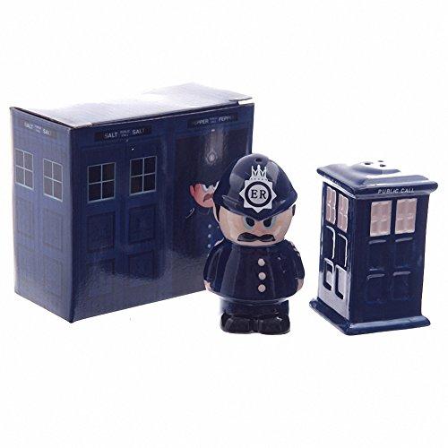 Céramique de policier &Police Box &Set Sel Poivre un cadeau idéal pour un cadeau d'anniversaire, cadeau de Noël ou fête des pères gifts etc...