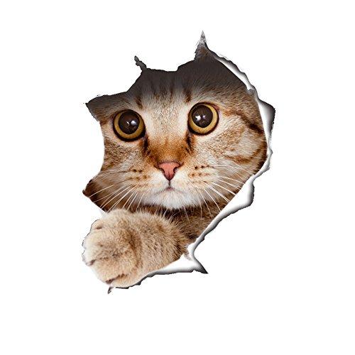 JYSPORT 3D Katzen-Aufkleber Vinyl-Graffiti-Laptop-Gepäck-Fahrrad-Wandbeutel-Wandaufkleber- Toiletten Wandtattoo-Kühlraum-Dekor (Cat)