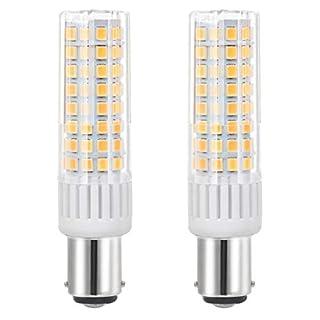 Neueste Ba15d LED 7.5W Nähmaschine Birne Leuchtmittel Hohe Helligkeit Bajonett-Birnen Äquivalent zu 85Watt Halogenlampe 90V-265V Warm Weiß 3000K ((2-Packs))